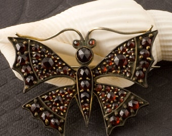 Antique Victorian Bohemian Garnet Butterfly Brooch