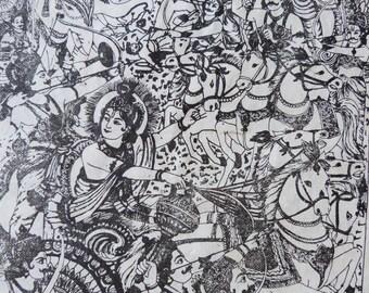 Vintage Indian Hindu Krishna Print on Rice Paper
