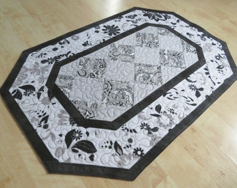 Quilted Black White Gray Table Runner Quilt 245