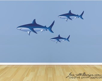 Ocean Theme decals,Kids Sharks Fabric Wall Stickers,Large Sharks