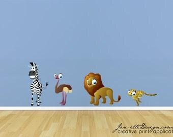 Safari Animals Fabric Wall Decal Set
