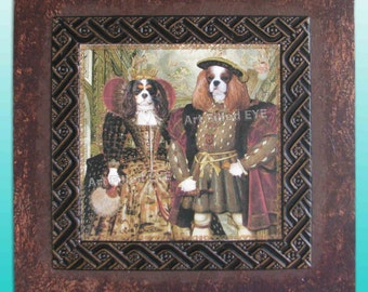 Cavalier King Charles Spaniels as English Tudor King Henry & Queen Elizabeth Giclee Print art Portrait Wall Picture Artwork Gift Blenheim