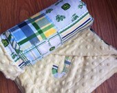 SHIPS FREE--John Deere baby Blanket 3x3.5-- personalization available