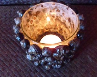 Periwinkle Shell glass candle holder