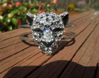 Fashion Bangle, Leopard in Silver Tone with Black Enamel and Rhinestones