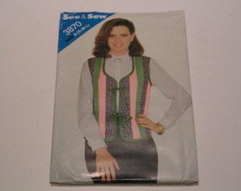 Vintage Butterick See & Sew Pattern 3870 Miss Vest