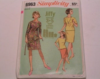 Vintage Simplicity Pattern 6963 Miss One or Two Piece Jiffy Dress