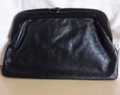 Vintage Joan Harper Black Clutch, Made in Italy