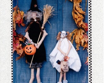 Halloween Witch and Ghost Craft Doll Patterns by You Are Special - #148 Trick or Treat - Halloween Wall or Door Decorations