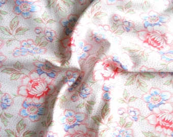 vintage french floral fabric vintage fabric patchwork quilting pillowcases antique fabric red and blue floral fabric 132