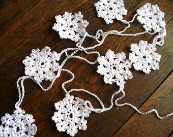 Winter wedding decoration, crochet Garland, Wedding garland, crochet ornaments, embellishment, holdays applique, Shabby chic, cotton Garland