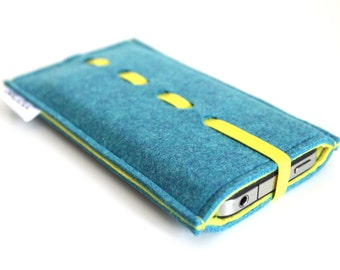 iPhone 6S Sleeve/ iPhone 6s Plus Case/ iPhone 4/4S/5/5S/5C Sleeve/ Samsung/ Nexus/ HTC/ One+One- Wave Collection-Teal Blue & Yellow