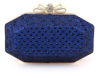 Blue Purse, handbag, Clutch, Blue and Gold, Blue Clutch, Blue Handbag, Gold Purse