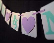 "MR. and MRS "" Sign/Banner - 4 x 4 Chipboard - Lavender/Purple and Aqua//Teal - Wedding banner - Wedding garland"