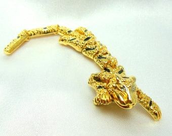 Vintage Leopard Brooch Articulated Long Movable Cat