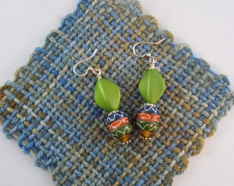 Blueberry inspired, patterns, handpainted, beaded earrings, earth tones, Maine artist
