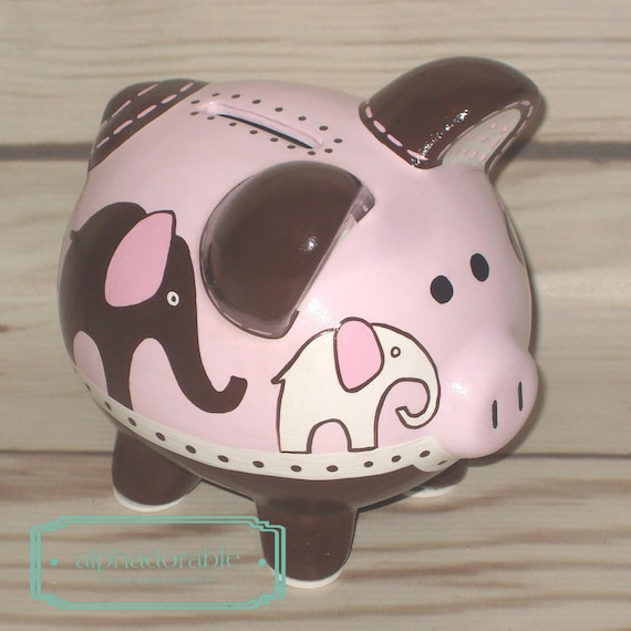 Items similar to personalized piggy bank pink elephants artisan hand painted ceramic piggy bank - Ceramic elephant piggy bank ...