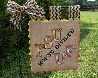 Custom House Divided Burlap Garden Flag - Collegiate Spirit - Football Game Day