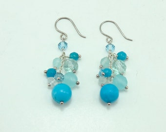 Blue turquoise,crystal,freshwater pearl sterling silver earring.