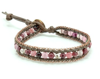 Rose quartz,jasper wrapped bracelet.
