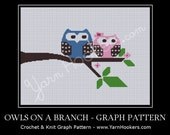 Owls on Branch - Afghan Crochet Graph Pattern Chart - Instant Download