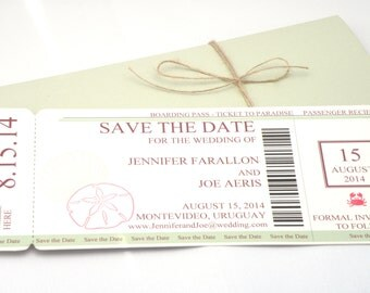 Boarding Pass Save The Date with World Map and Plane