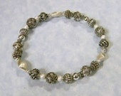 Bali Silver and Sterling Beaded Stretch Bracelet