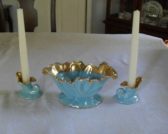 Vintage Table Vase, and Candle Holder Set 1950s 3 Pieces