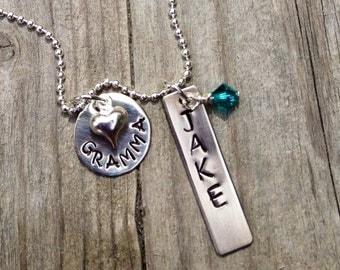 Personalized Hand Stamped Grandma Necklace