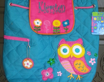 Backpack, toddler, Quilted fabric, Owl, Stephen Joseph, personalization