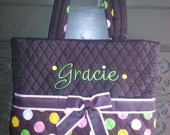 Diaper Bag, Personalized, Brown, polka dot, Quilted, Monogrammed, 3 piece set