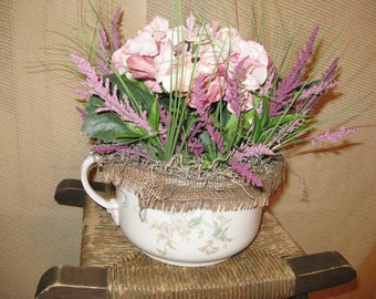 Antique Chamber Pot w/silk flowers