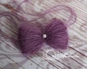 Vintage Grape Pearled Bow Tieback - Tie Back Headband - Mohair Couture Newborn Headband - Girls Headband - Photography Prop