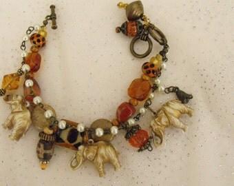 Celluloid Vintage Elephant Charm Bracelet/Handmade/Beaded/Vintage Elephants/Double Strand/Vintage Assemblage