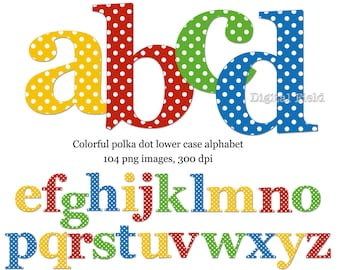 Polka dot lowercase alphabet clip art set - yellow, red, blue, green printable digital letters - instant download