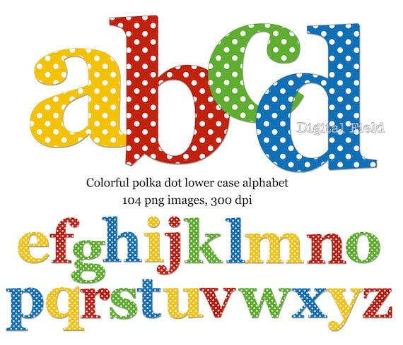 polka dot letters polka dot lowercase alphabet clip set yellow by 24021 | il 570xN.476547208 eti6