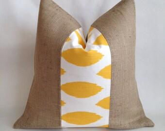 Yellow Ikat Fabric and Natural Burlap Pillow Cover