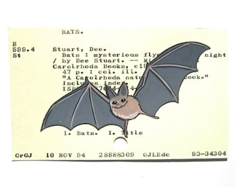 Bat Library Card Art - Print of my painting of bat on library card catalog card for book Bats: Mysterious Flyers of the Night