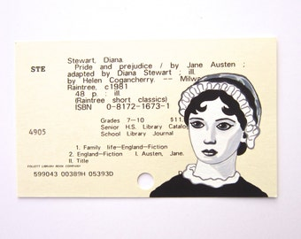 Jane Austen Library Card Art - Print of my painting of Jane Austen on library card for Pride and Prejudice