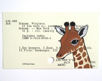 Giraffe Library Card Art - Print of my painting of a giraffe on a library card catalog card