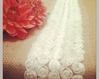 Burlap Table Runner, Rosette Table Runner, French Ivory or White Tulle Rosette ,  Weddings, bridal, baby showers.
