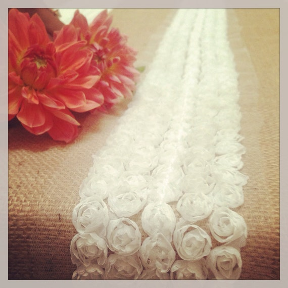 Tulle Rosettes Ivory or White trim on Rustic Natural Burlap Runners ...