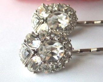 OOAK-Vintage Crystal Hair Pins. Wedding, Bridal, Everyday.