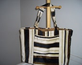 Brown Striped Market Bag/Travel Tote
