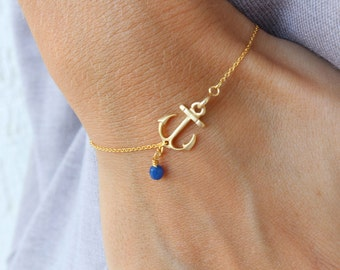 Anchor Bracelet - Blue pendant bracelet - Delicate anchor bracelet - gold anchor bracelet - everyday bracelet