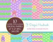 INSTANT DOWNLOAD Easter Owls and Eggs Digital Papers Commercial Use - Scrapbook Papers - Digital Papers