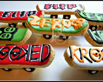 6 - 3D Skateboard Cookies, 3 Dimensional
