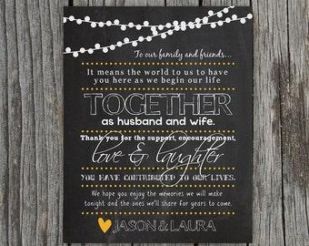 DIY Printable - Chalkboard with Lights Wedding Thank You Sign