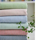 Prewashed Stripe Cotton Fabric - Olive, Indi Pink, Sky, Mint, Red or Navy - By the Yard 414400