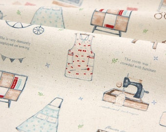 Cotton Fabric Sewing Illustration - Natural - By the Yard 41153